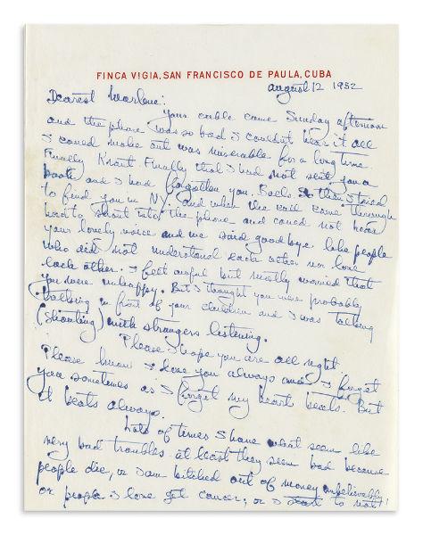 Carta de Hemingway a Marlene Dietrich, desde Cuba con amor / Foto: Swann Auction Gallery