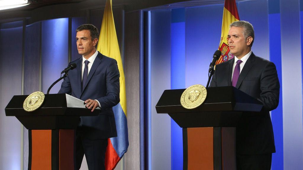 Pedro Sánchez e Iván Duque