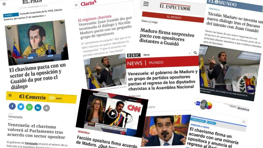 Medios de comunicación y agencias internacionales libres destacaron la ausencia de Guaidó /Foto: Montaje ALN