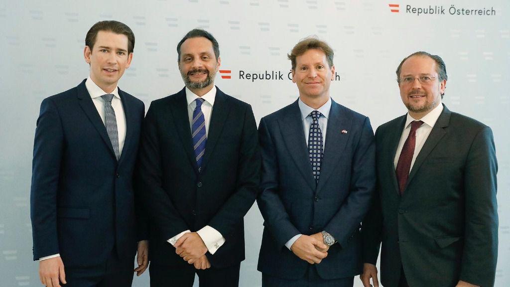 William Dávila con el canciller Kurz, el ministro de Exteriores y el embajador de EEUU en Viena / Foto: Cedida
