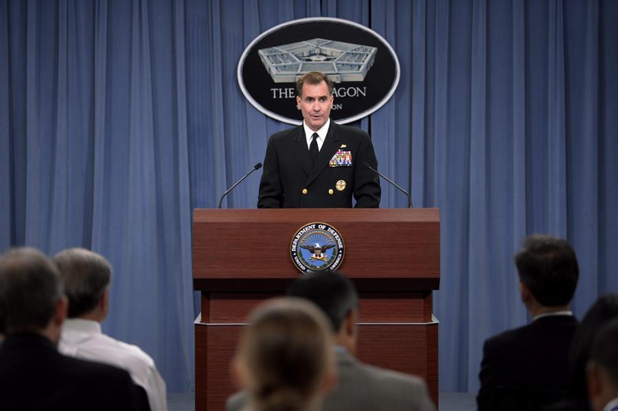 En la imagen un registro del portavoz del Pentágono, el contraalmirante John Kirby.