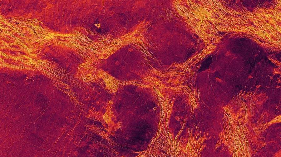Vista de radar en falso color de 1.100 km de ancho de la Planicie de Lavinia, una de las regiones bajas de Venus donde la litosfera se ha fragmentado en bloques (púrpura) delineados por cinturones de estructuras tectónicas (amarillo)