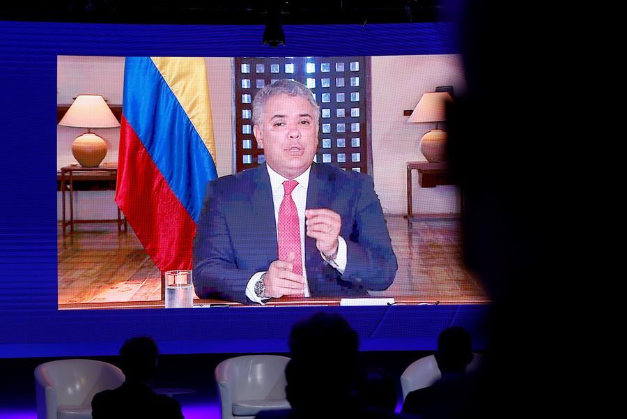 El presidente de Colombia, Iván Duque, en su intervención el lunes por videoconferencia durante el Congreso que la Asociación Mundial de Juristas celebra en la Casa América de Madrid.