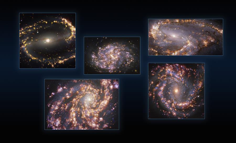 Imagen de referencia que muestra observaciones de cinco galaxias tomadas con el instrumento MUSE (Multi-Unit Spectroscopic Explorer, explorador espectroscópico multi-unidad), instalado en el Very Large Telescope (VLT) de ESO.